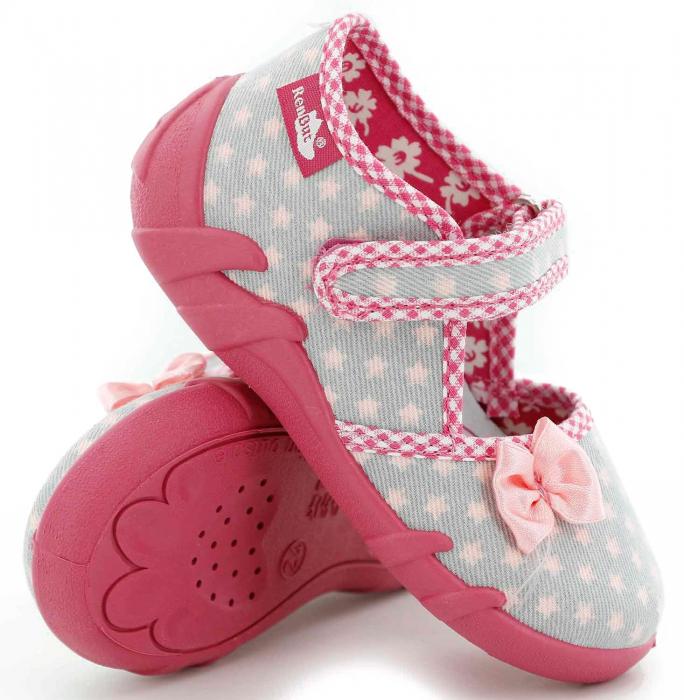 Pantofi fete cu fundita roz si stelute (cu scai), din material textil 0