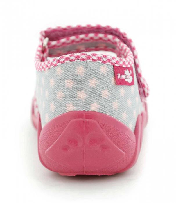 Pantofi fete cu fundita roz si stelute (cu scai), din material textil 5