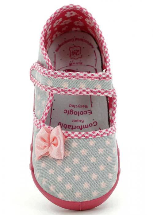 Pantofi fete cu fundita roz si stelute (cu scai), din material textil 4