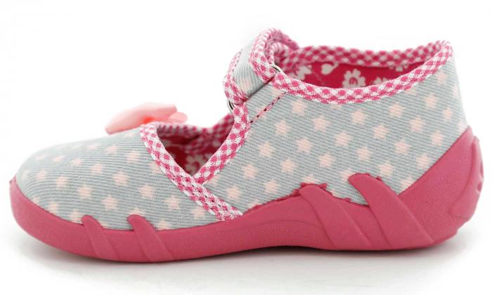 Pantofi fete cu fundita roz si stelute (cu scai), din material textil 3