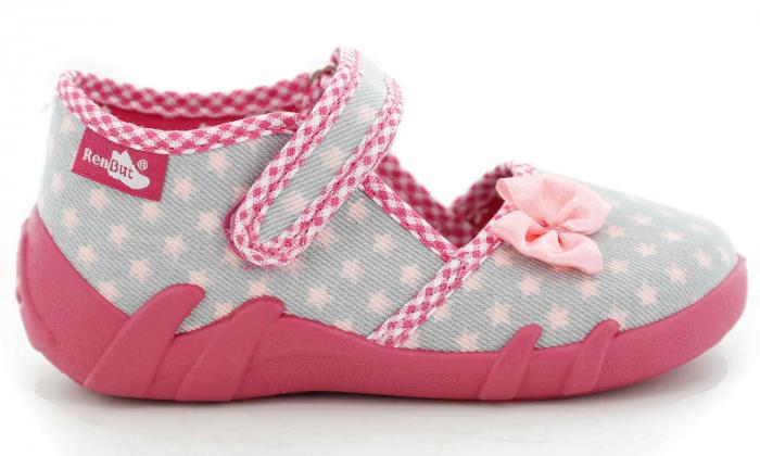 Pantofi fete cu fundita roz si stelute (cu scai), din material textil 2