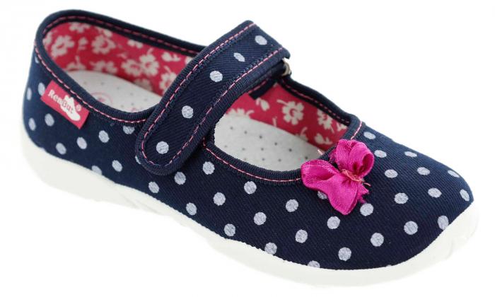 Papucei fete bleumarin cu bulinute albe si fundita roz (cu scai), din material textil 1
