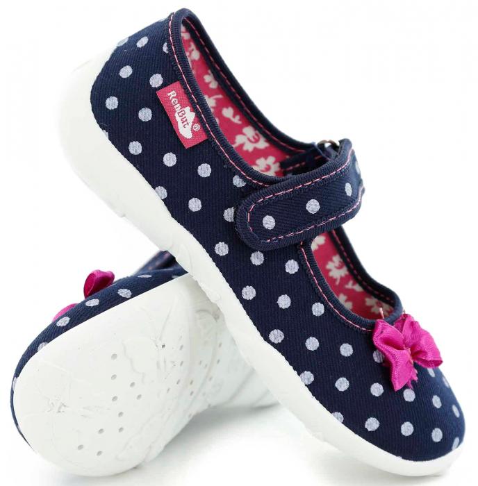 Papucei fete bleumarin cu bulinute albe si fundita roz (cu scai), din material textil 0