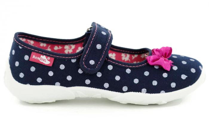 Papucei fete bleumarin cu bulinute albe si fundita roz (cu scai), din material textil 2