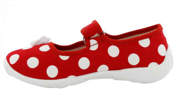 Papucei fete rosu cu buline albe si fundita alba (cu scai), din material textil 3