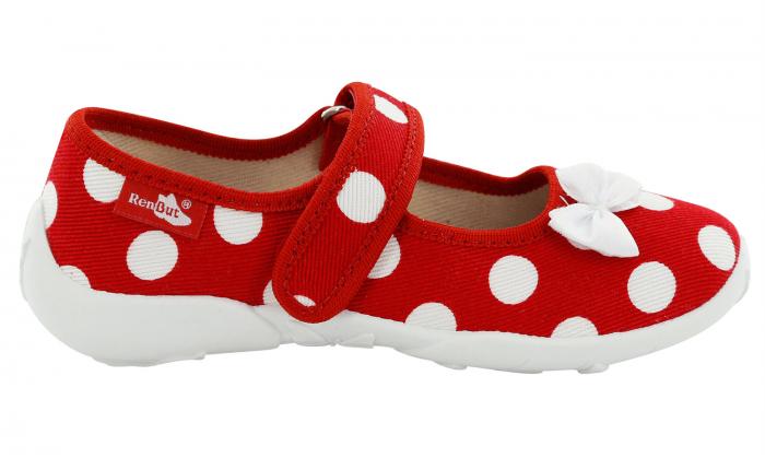 Papucei fete rosu cu buline albe si fundita alba (cu scai), din material textil 2