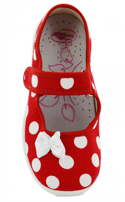 Papucei fete rosu cu buline albe si fundita alba (cu scai), din material textil 4