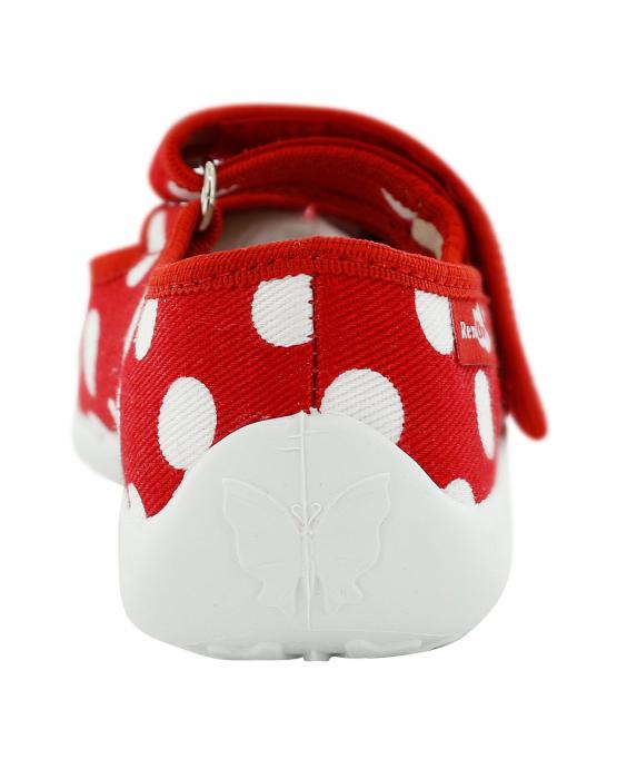 Papucei fete rosu cu buline albe si fundita alba (cu scai), din material textil 5