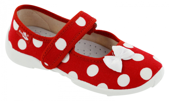 Papucei fete rosu cu buline albe si fundita alba (cu scai), din material textil 1
