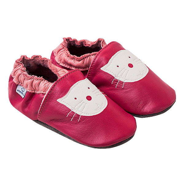 Papucei piele - Pink Kitty 0