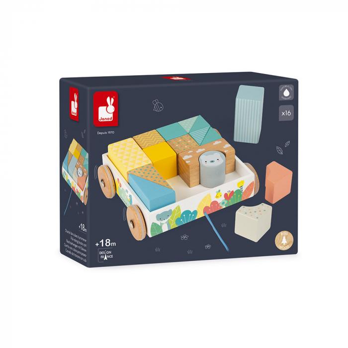 Jucărie de tras și cuburi (lemn) - Janod J05152 7
