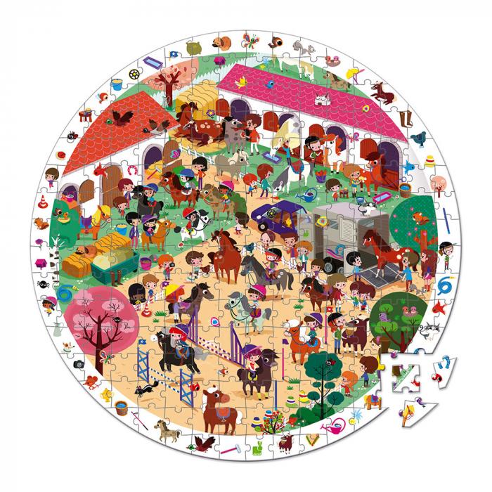 Puzzle de observatie - Cai in galop - 208 de piese, Janod J02796 1