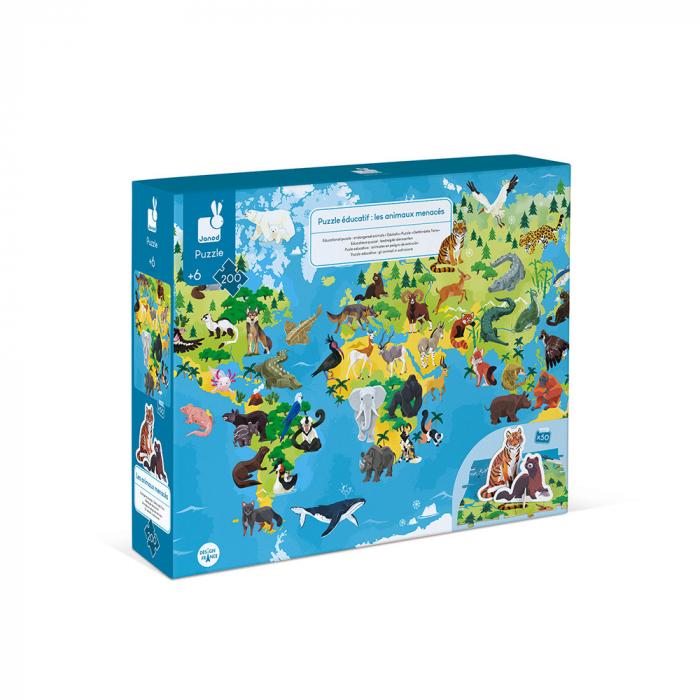 Puzzle educativ - Animale pe cale de la dispariție - 200 de piese, Janod J02676 0