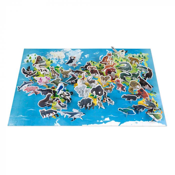 Puzzle educativ - Animale pe cale de la dispariție - 200 de piese, Janod J02676 1