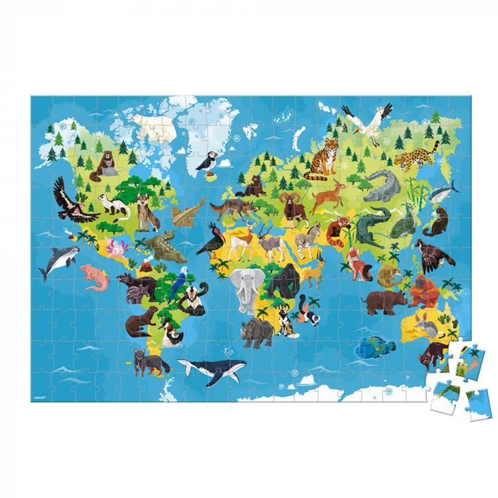 Puzzle educativ - Animale pe cale de la dispariție - 200 de piese, Janod J02676 2