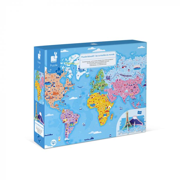 Puzzle educativ - Curiozități de pe mapamond - 350 de piese, Janod J02677 [0]