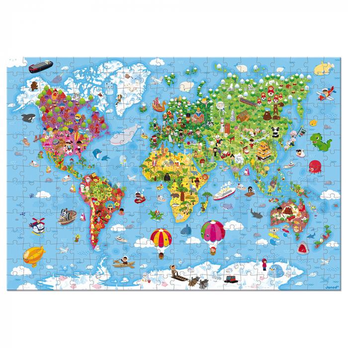Puzzle gigant - Harta lumii - 300 de piese, Janod J02775 [2]