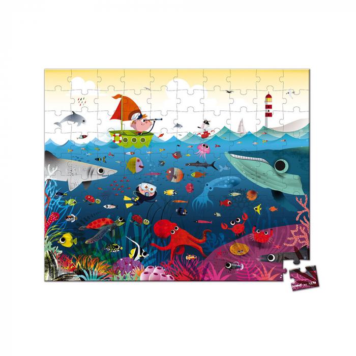 Puzzle în cutie - Lumea subacvatică - 100 de piese, Janod J02947 [1]