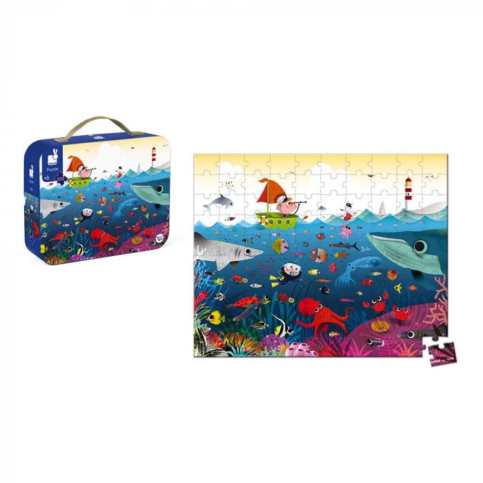 Puzzle în cutie - Lumea subacvatică - 100 de piese, Janod J02947 [2]