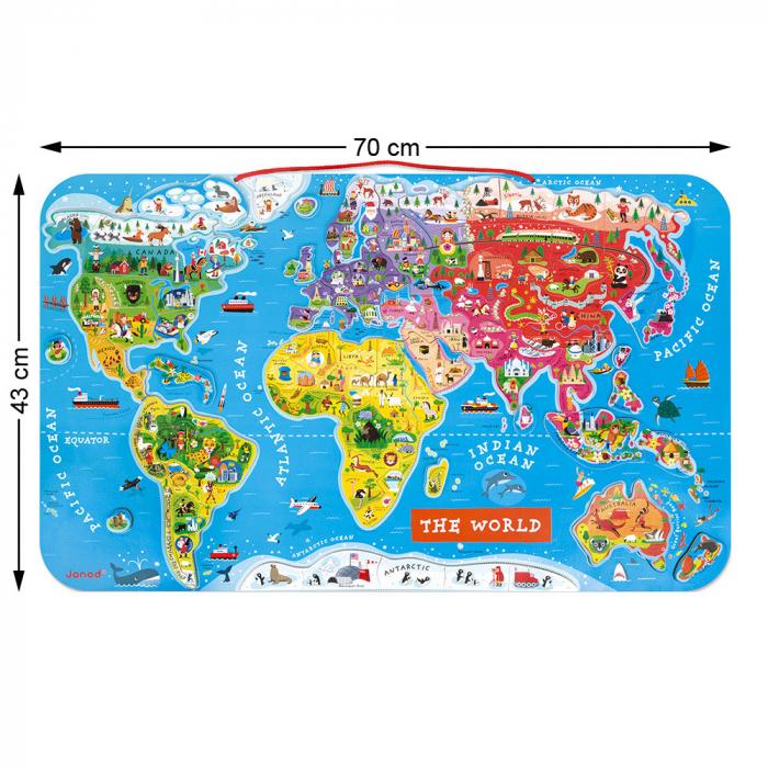 Puzzle magnetic - Harta lumii - 92 de piese, Janod J05504 2