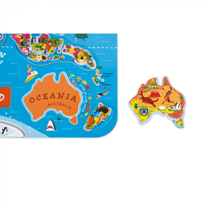 Puzzle magnetic - Harta lumii - 92 de piese, Janod J05504 1
