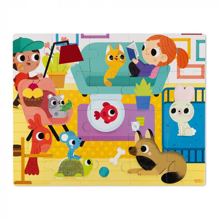 Puzzle tactil - Animale de companie - 20 de piese, Janod J02686 1