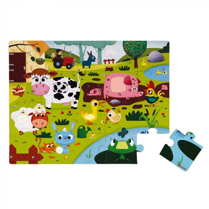 Puzzle tactil - Animale de la ferma - 20 de piese, Janod J02772 1