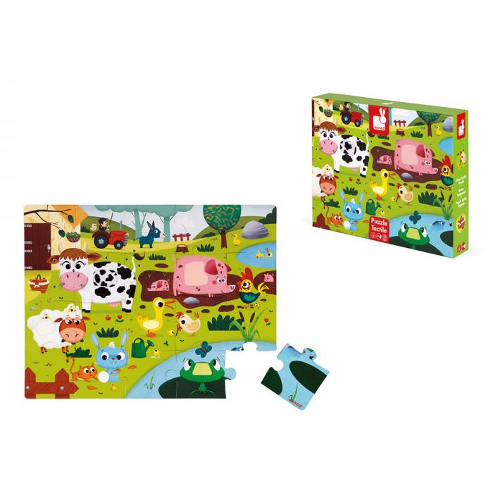 Puzzle tactil - Animale de la ferma - 20 de piese, Janod J02772 8