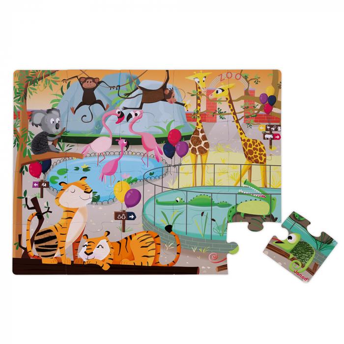 Puzzle tactil - La gradina zoologica - 20 de piese, Janod J02774 1