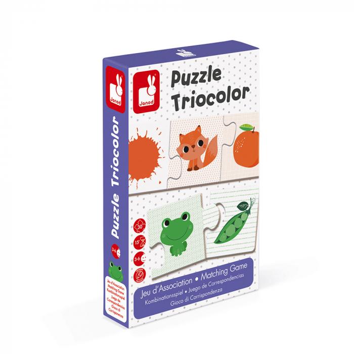 Puzzle tricolor - Joc de potrivire - 30 de piese, Janod J02709 0