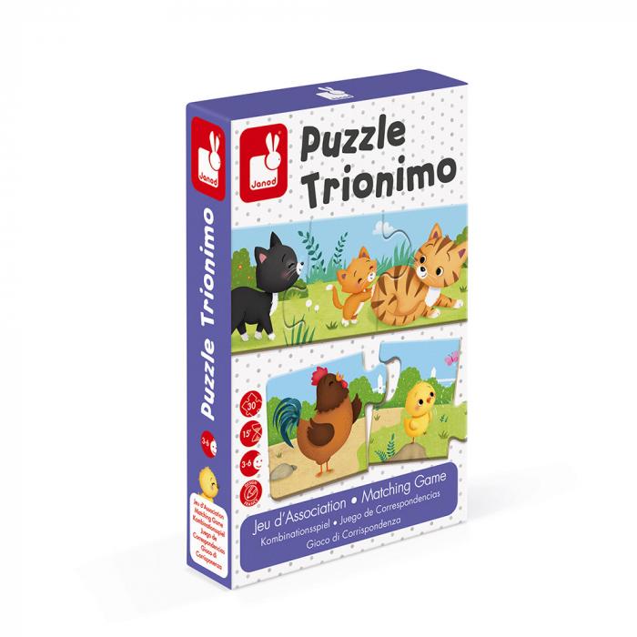 Puzzle trionimo - Joc de potrivire - Animale si copiii lor - 30 de piese, Janod J02710 0
