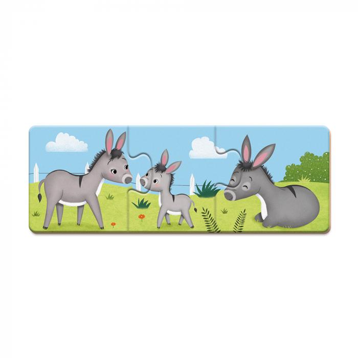 Puzzle trionimo - Joc de potrivire - Animale si copiii lor - 30 de piese, Janod J02710 1