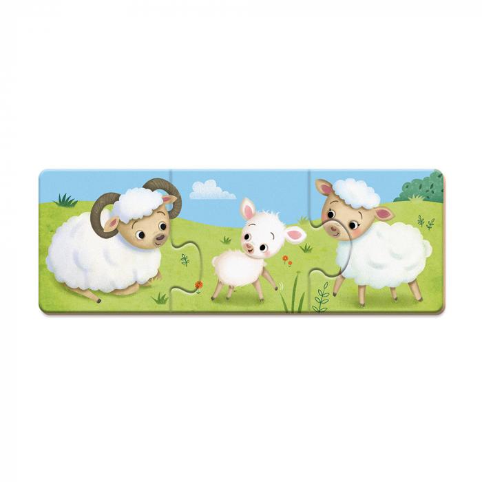 Puzzle trionimo - Joc de potrivire - Animale si copiii lor - 30 de piese, Janod J02710 2
