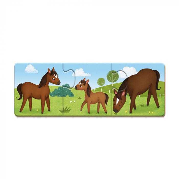 Puzzle trionimo - Joc de potrivire - Animale si copiii lor - 30 de piese, Janod J02710 3