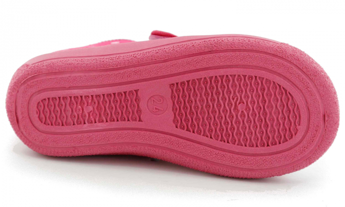 Sandal fete cu bulinute albe si floricel (cu scai), din material textil 6