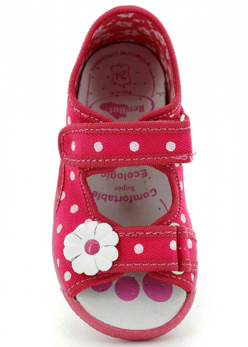 Sandal fete cu bulinute albe si floricel (cu scai), din material textil 4