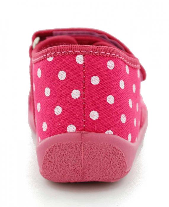 Sandal fete cu bulinute albe si floricel (cu scai), din material textil 5