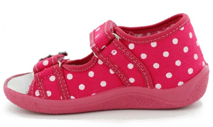 Sandal fete cu bulinute albe si floricel (cu scai), din material textil 3