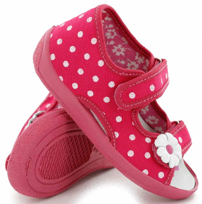 Sandal fete cu bulinute albe si floricel (cu scai), din material textil 0