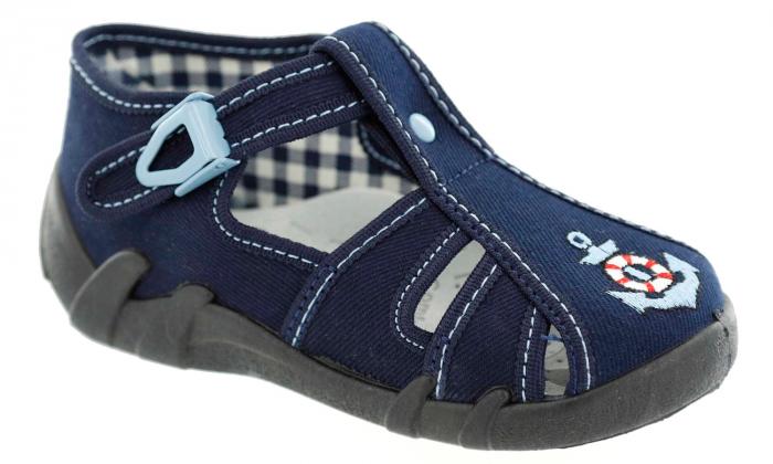 Sandale baieti cu motiv ancora (cu catarama), din material textil 1