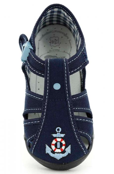 Sandale baieti cu motiv ancora (cu catarama), din material textil 4