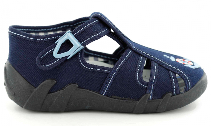 Sandale baieti cu motiv ancora (cu catarama), din material textil 2