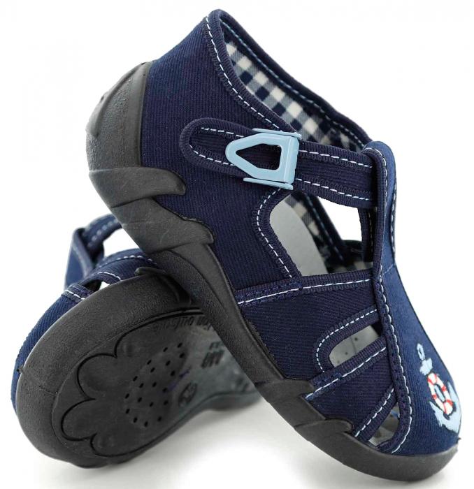 Sandale baieti cu motiv ancora (cu catarama), din material textil 0