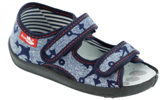 Sandale baieti cu motiv ancora (cu scai), din material textil 1