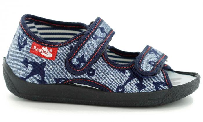 Sandale baieti cu motiv ancora (cu scai), din material textil 2