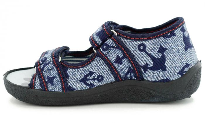 Sandale baieti cu motiv ancora (cu scai), din material textil 3