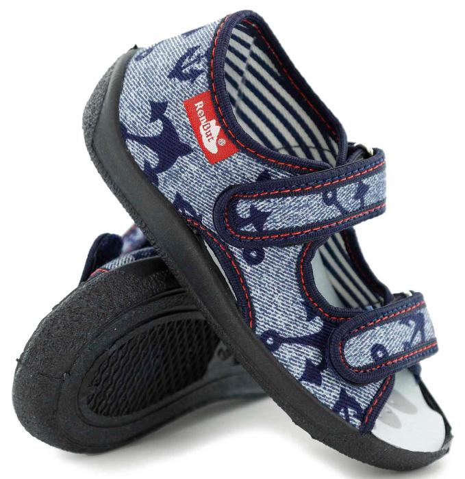 Sandale baieti cu motiv ancora (cu scai), din material textil 0
