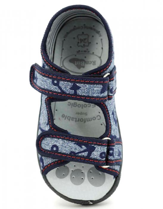 Sandale baieti cu motiv ancora (cu scai), din material textil 4