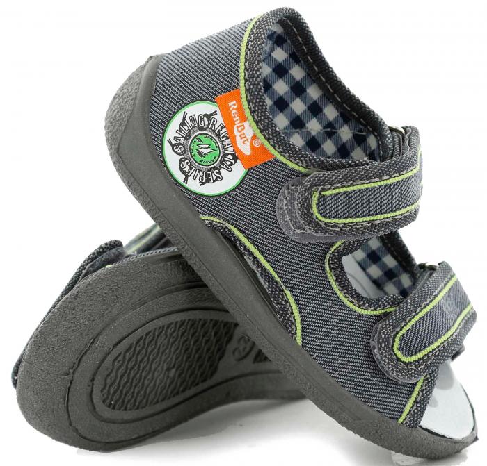Sandale baieti gri-verde (cu scai), din material textil 0