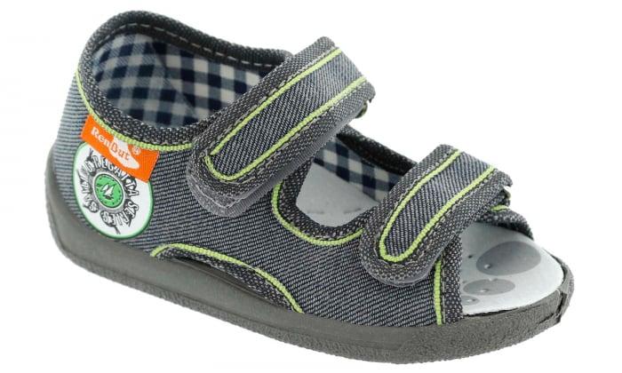 Sandale baieti gri-verde (cu scai), din material textil 1